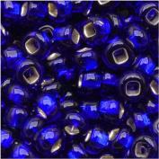 Czech Seed Beads 8/0 Silver Foil Lined Cobalt Blue