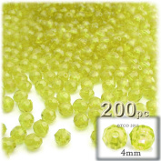 The Crafts Outlet 200-Piece Faceted Plastic Transparent Round Beads, 4mm, Yellow