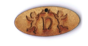 Letter N with angels 2.5cm wooden bead
