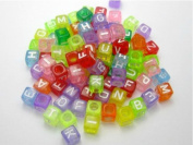 Alphabet Beads Cube Letter 6x6mm 100/pkg Mixed Colour ~Jewellery Making~