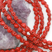 Howlite Turquoise Loose Beads Carved Skulls Spacer 6x8mm Red