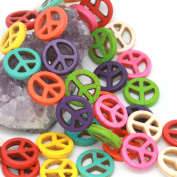 Howlite Turquoise Loose Beads Peace Sign Spacer 20mm Mixed
