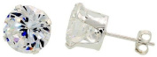 New Sterling Silver Round Cz Stud Earrings 5mm By Jbt
