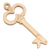 Maple Wood Laser Cut Skeleton Key Pointing Left Pendant 3.8cm