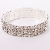 Attractive New Four Rows Rhinestone Elastic Bracelet Bangle