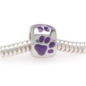 Silver Tone European Style Large Hole Bead With Purple Enamel Paw Prints