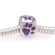 Silver Tone European Style Large Hole Bead With Purple Enamel Paw Prints