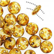 CzechMates Glass 2-Hole Round Flat Lentil Beads 6mm - Crystal Picasso