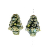 Glazed Ceramic Bead - Tiny Green Christmas Tree 9x13.5mm