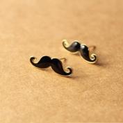 H:oter Black Enamel Moustache Stud Earrings, Lovely, Price/Pair, Gift Idea