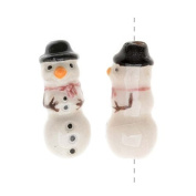 Glazed Ceramic Bead - Tiny Snowman With Black Hat 8x20mm