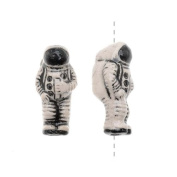 Glazed Ceramic Bead - Tiny Space Astronaut 8x17.5mm