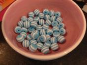 10mm Blue Sriped Beads-20pcs. per Bag