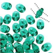 Czech Glass SuperDuo 2-Hole Seed Beads 5.5x3.5mm - Emerald Green