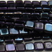 Czechmate 6mm Square Glass Czech Two Hole Tile Bead - Tanzanite Celsian