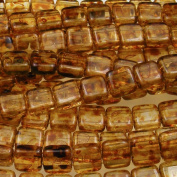Czechmate 6mm Square Glass Czech Two Hole Tile Bead - Picasso Crystal