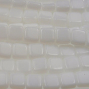 Czechmate 6mm Square Glass Czech Two Hole Tile Bead - Opaque White