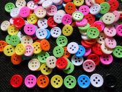 100 Pcs Cute Candy Button 4 Hole - Size 9 Mm Mix Colour