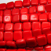 Czechmate 6mm Square Glass Czech Two Hole Tile Bead - Opaque Red