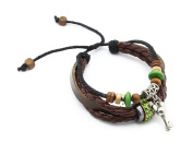 Personalised Charm Earthenware Friendship Leather Bracelets Weave Designs for Women H