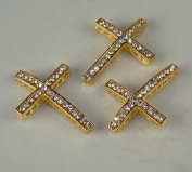 Rhinestone Cross Pave Gold W/crystal 3 Each 25mmx35mm