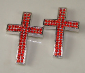 Sideways Cross Rhinestone Silver Red Crystal 2pc 26mmx40mm