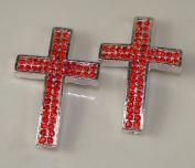 Sideways Cross Rhinestone Silver Red Crystal 2pc 26mmx40mm