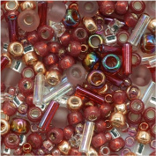 Toho Multi-Shape Glass Beads 'Kokoro' Mauve/Gold Colour Mix 8 Gramme Tube
