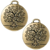 22K Gold Plated Pewter Round Tree Of Life Pendant 26mm