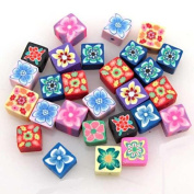 Mix Square Fimo Polymer Clay Beads 100