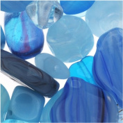 Czech Glass Bead Mix Assorted Shapes Aqua Capri Blue
