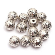 Ball Flower Bali Style Metal Antique Tibetan Silver Findings Jewellery Making DIY Spacer Beads