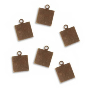 Vintaj Natural Brass Rustic Altered Blank Square Pendants 10mm