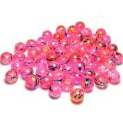 Moxx Pink 8mm Round Crackle Lampwork Glass Beads with Metallic Stripes