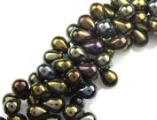 50 Brown Iris Czech Glass Tear Drop Beads Teardrops 8MM
