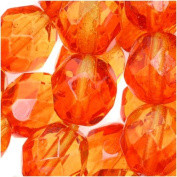 Czech Fire Polish Glass Two Toned Beads 8mm Round Orange Yellow
