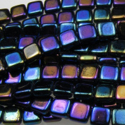 Czechmate 6mm Square Glass Czech Two Hole Tile Bead - Iris Blue