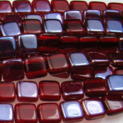 Czechmate 6mm Square Glass Czech Two Hole Tile Bead - Celsian Siam Ruby