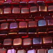 Czechmate 6mm Square Glass Czech Two Hole Tile Bead - Twilight Siam Ruby