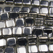 Czechmate 6mm Square Glass Czech Two Hole Tile Bead - Silver
