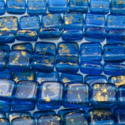 Czechmate 6mm Square Glass Czech Two Hole Tile Bead - Gold Marbled/Capri Blue