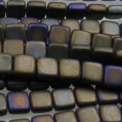 Czechmate 6mm Square Glass Czech Two Hole Tile Bead - Matte Iris Brown