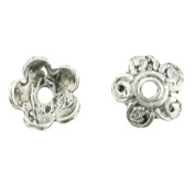 Silver Plated - Bead Caps - Flower - Sold by