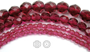 Choose a Size, Fuchsia, Czech Fire Polished Round Faceted Glass Beads, 41cm strand
