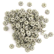 470 4mm silver plated antique style daisy spacer beads