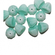 Turquoise Mottled Skirt Czech Pressed Glass Beads