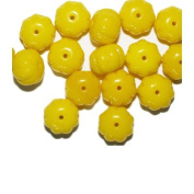 Yellow Puff Blossom Czech Pressed Glass Beads