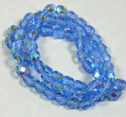 "Blue Ab Czech Faceted Firepolished 6mm Glass Beads 16"" Loose Strand Jablonex/preciosa"