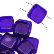 CzechMates Glass 2-Hole Square Tile Beads 6mm - Cobalt Blue