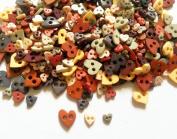 100 Pcs Cute Heart Button Mix Size and Colour Earth Tone